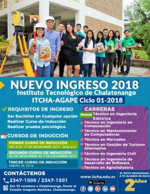 Nuevo Ingreso ITCHA-AGAPE Ciclo 01-2018