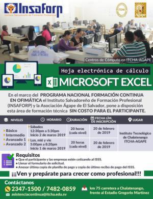 Cursos del INSAFORP Área Técnica - Microsoft Excel
