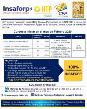 Nuevos Cursos del INSAFORP para el mes de febrero 2020