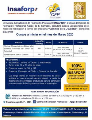 Cursos INSAFORP - Mecánica y Ejecutivo de Ventas - marzo 2020