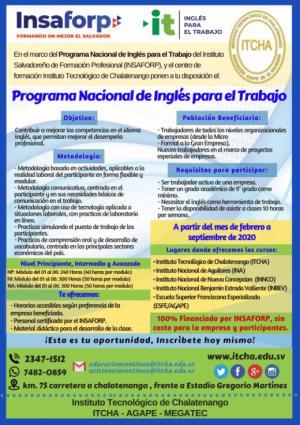 Participa en el Programa Inglés para El Trabajo del INSAFORP