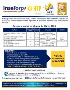 Nuevos Cursos del INSAFORP para el mes de marzo 2020