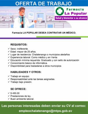 Oferta de Empleo - Farmacia La Popular