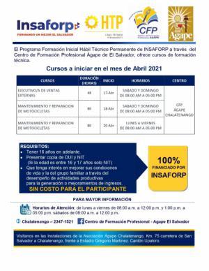 Nuevos cursos INSAFORP en abril 2021