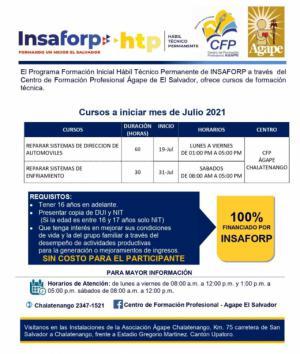 Nuevos cursos INSAFORP en julio 2021