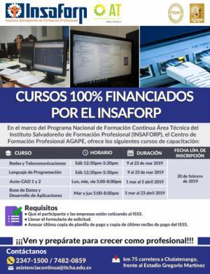 Cursos del INSAFORP Área Técnica en ITCHA-AGAPE 2019