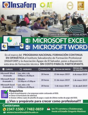 Cursos del INSAFORP Área Técnica - Microsoft Word y Excel