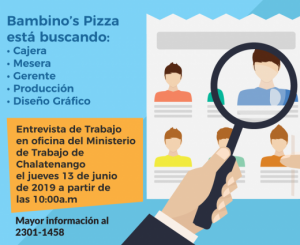 Ofertas de Empleo, Bambinos Pizza Chalatenango