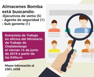 Oferta de empleo - Almacenes Bomba